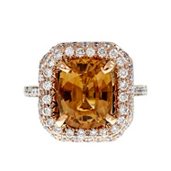 Natural Brown Orange Yellow Sapphire Ring 18k Pink White Gold Diamond