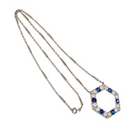 Vintage Art Deco Natural Montana Sapphire Pendant Platinum European Cut Diamond