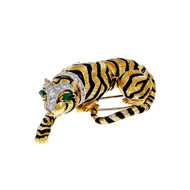 Certified David Webb Tiger Pin Broach 18k Yellow Gold Diamond Emerald
