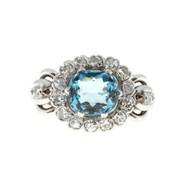 Retro Art Deco 2.00ct Cushion Blue Zircon 14k White Gold .48ct Diamond Ring