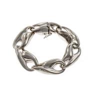 Vintage Krypell Modernist Silver Bracelet Elliptical Links