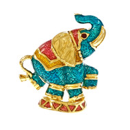 Hidalgo Elephant Pin Multi Color Enamel 18k Yellow Gold