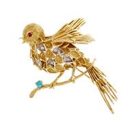 Vintage J. Rossi Bird Pin 18k Yellow Gold Robin