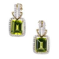 Cushion Shape Peridot & Diamond 18k Yellow Gold Earrings