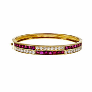 Estate Square Ruby Diamond Bangle Bracelet Hinged