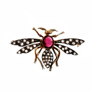 Antique Victorian Wasp Pin Silver 14k Gold Rose Cut Diamonds Garnet
