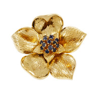 Tiffany & Co Sapphire Flower Pin Broach 18k Yellow Gold