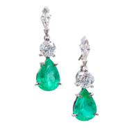 Vintage Emerald Diamond Dangle Earrings Platinum