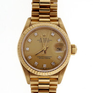 Ladies Rolex 18k Yellow Gold Diamond Dial Watch 69178