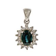 Estate Oval Sapphire Diamond Pendant 14k White Gold