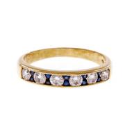 Estate Diamond Wedding Band Ring Diamond Sapphire 18k Yellow Gold