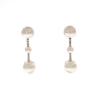 Cultured Pearl Diamond Dangle Earrings High Grade Fresh Water 18k White Gold