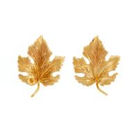 Vintage Maple Leaf Earrings 14k Yellow Gold