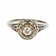 Estate Art Deco 1930 Engagement Ring Filigree 18k White Gold