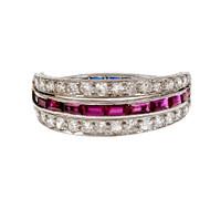 Vintage 1930 Diamond Ruby Sapphire Wedding Band Ring Platinum