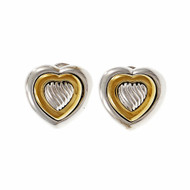 Estate David Yurman Heart Earrings Silver 18k Yellow Gold