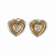 Estate David Yurman Heart Earrings Silver 18k Yellow Gold
