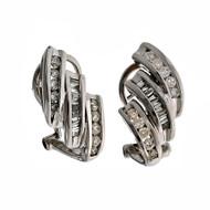 Swirl Round Baguette Diamond Earrings 14k White Gold Clip Post
