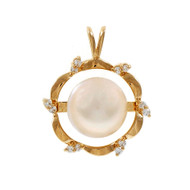 Estate Mobe Pearl Diamond Pendant 14k Yellow Gold