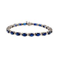 Estate Oval Sapphire Diamond Bracelet 14k White Gold