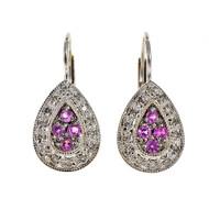 Estate Tear Drop Pink Sapphire Diamond Earrings 14k White Gold