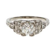 Estate Old European Cut 1930 Diamond Engagement Ring Platinum