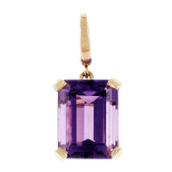 Estate Emerald Cut Amethyst Pendant Enhancer 14k Yellow Gold