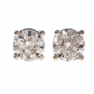 Estate Diamond Stud Earrings 14k White Gold