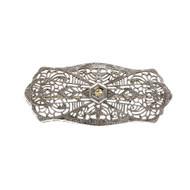 Vintage 1940 Filigree Diamond Pin 10k White Gold