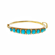 Victorian Natural Persian Turquoise Bangle Bracelet 1900 14k Yellow Gold