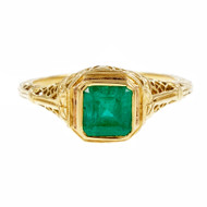 Estate Filigree Emerald Engagement Ring 18k Yellow Gold