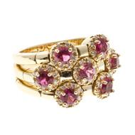 Vintage Sonia B 1.56ct Red Rubellite .42ct 56 Full Cut Diamond 14k Flex Ring