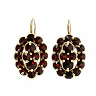 Vintage 1900 Rose Cut Garnet Earrings 14k Yellow Gold