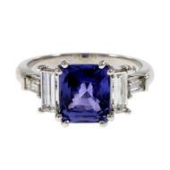 Peter Suchy Violet Purple Natural GIA Sapphire Engagement Ring Platinum Diamond
