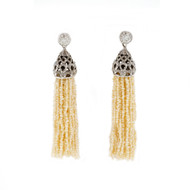 Vintage Natural Seed Pearl Tassel Dangle Earrings 14k White Gold