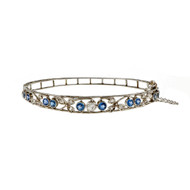 Edwardian 1910 Vintage Montana Natural Sapphire Bangle Bracelet Platinum Diamond