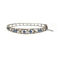 Edwardian 1910 Vintage Montana Natural Sapphire Bangle Bracelet Platinum Diamond