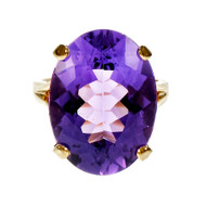 Estate Large Oval Amethyst Ring 14k Yellow Gold