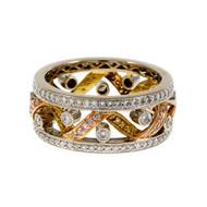 Open Work Ribbon Designed Eternity Band Ring Diamond 18k White Gold