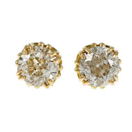 Estate Transitional Cut Diamond Stud Earrings 18k Yellow Gold Open Work