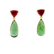 Peter Suchy Pink & Green Tourmaline Dangle Earrings 18k Yellow Gold