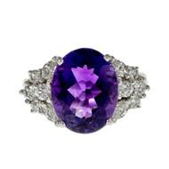 Estate Bright Deep Purple Amethyst Diamond Ring 18k White Gold