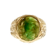 Vintage Men's Natural Certified Jadeite Jade Ring 14k Yellow Gold