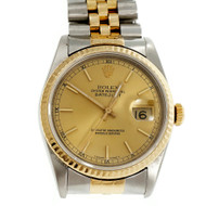 Rolex Datejust 16233 18k Gold & Steel Jubilee Band Gold Dial
