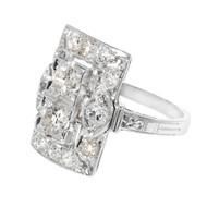 Vintage Art Deco Old European Cut Diamond Ring Platinum 1920