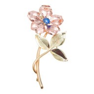 Antique Art Deco Krementz Pink Green Gold 14k Sapphire Flower Pin