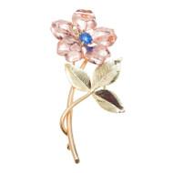 Antique Art Deco Krementz Pink Green Gold 14k Sapphire Flower Pin