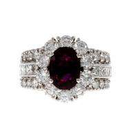 Hammerman Brothers Ruby Diamond Estate Ring Platinum