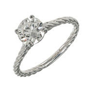 Peter Suchy Transitional Cut Diamond Solitaire Ring Platinum