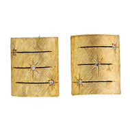 Vintage 1950 Florentine Finish Tops 14k Gold Domed Star Set Diamond Cuff Links